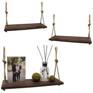 Hanging Shelf - Macrame Wood Hanging 3 Pcs Shelves